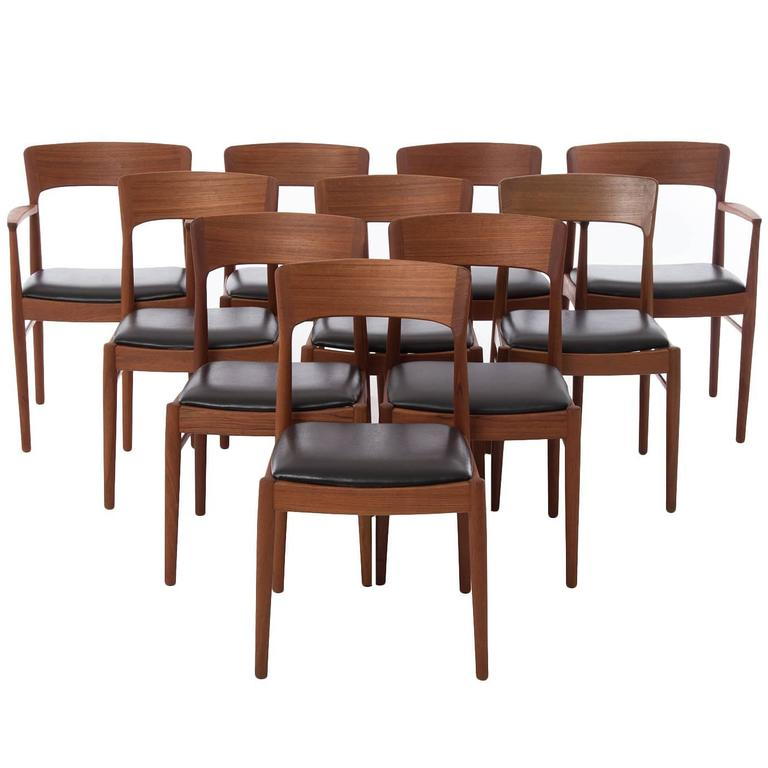 Danish modern dining chair set at 1stdibs for Danish dining room chairs