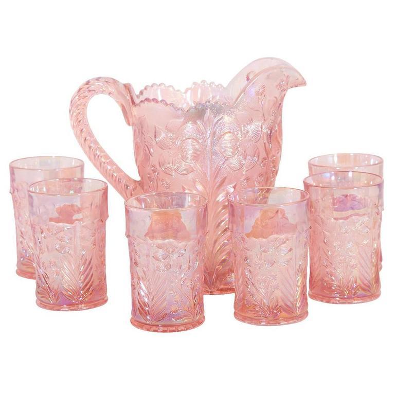 Iridescent Pink Pitcher and Glass Set