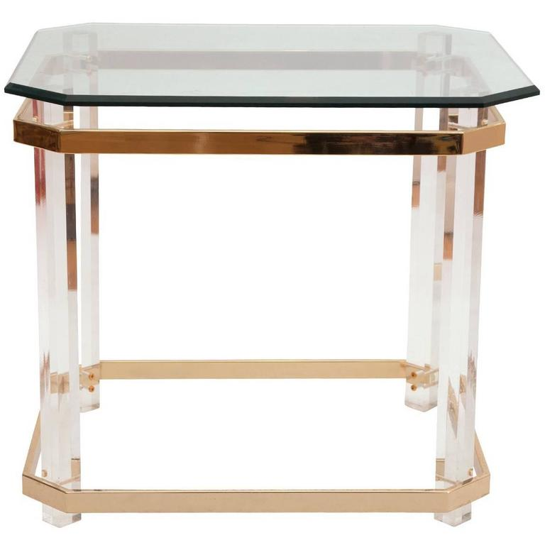 Charles Hollis Jones Lucite, Brass and Glass Side Table, circa 1970s For Sale