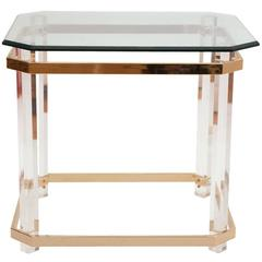 Charles Hollis Jones Lucite, Brass and Glass Side Table, circa 1970s