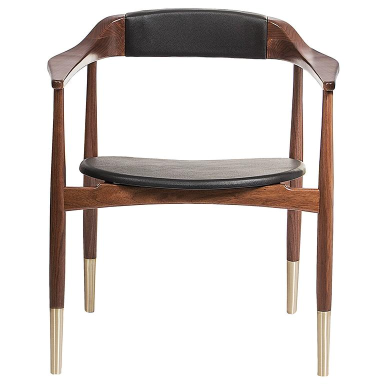European MidCentury Modern Style Walnut Leather and Brass Dining