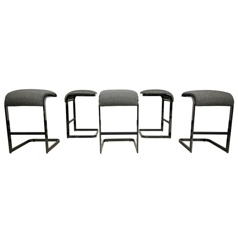 Set of Five Design Institute of America Smoked Chrome Cantilever Bar Stools