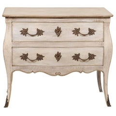 Antique French Bombé Shaped Two-Drawer Chest Raised on Sabre Legs