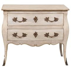 French Two-Drawer Wooden Bombé Shaped Chest