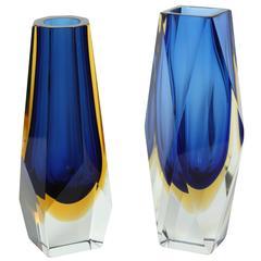 Pair of Mandruzzato Murano Glass Vases