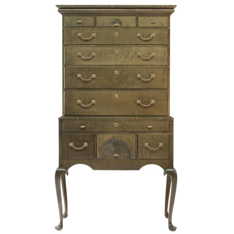 O&G Tiger Maple Highboy with Cast Bronze Fist or Hand Hardware For Sale