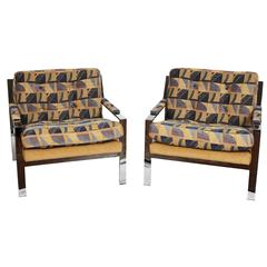 Pair of Cy Mann Lounge Chairs with Polished Chrome