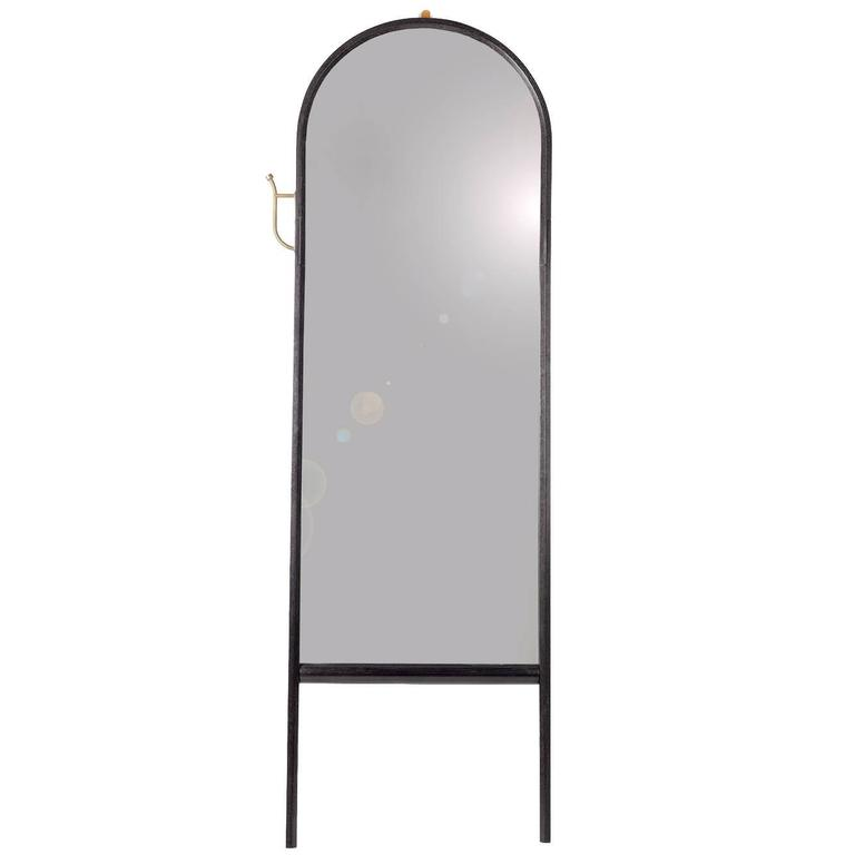 Ebonized O&G Paniolo Leaning Mirror in Ash with Bronze Details For Sale