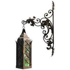 Forged Iron Lionhead Lantern
