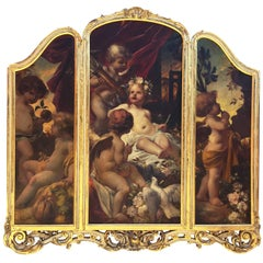 German 19th Century Oil on Canvas Triptych of Cherubs by Ferdinand Wagner II