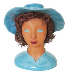 """California Pottery """"Becky"""" Bust with Copper Hair by Hermione Palmer"""