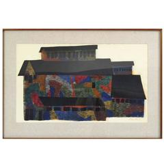 "Large Polychrome Architecture Screenprint ""Mine Building"" Signed Ben Shahn, 1956"