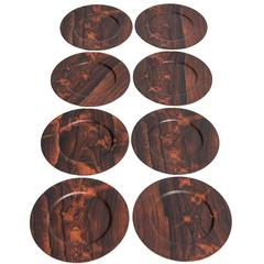 Set of Eight Rosewood Plates Produced in Denmark