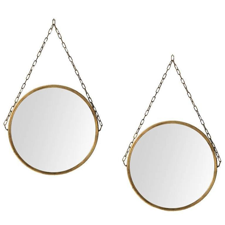 Pair of Round Mirrors in Brass Produced in Sweden