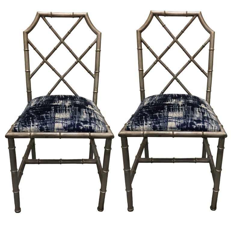 Pair Of Italian Silver Painted Faux Bamboo Side Chairs For