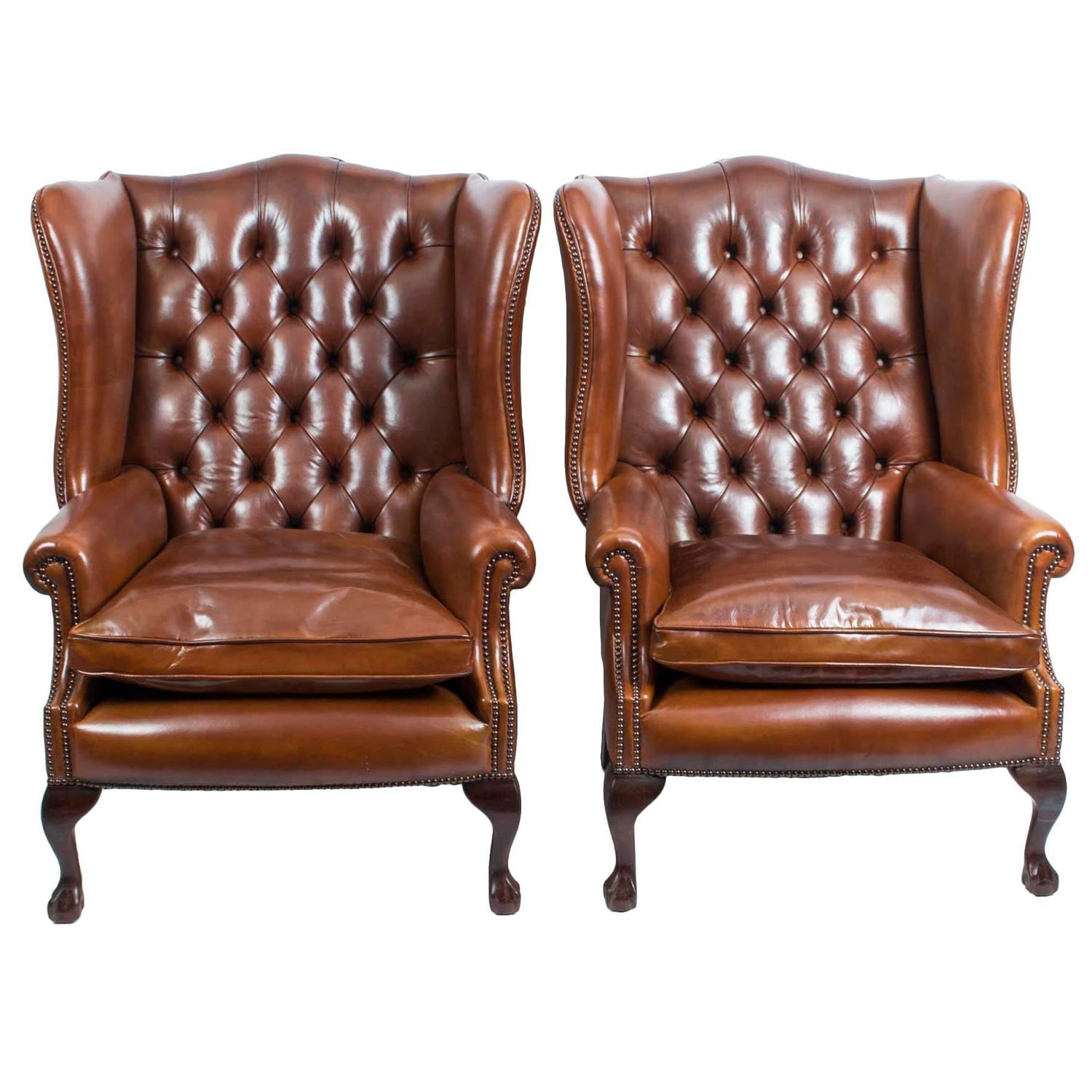 Pair of Leather Ball and Claw Wing Chairs Armchairs For Sale at