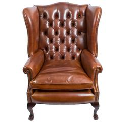 Leather Ball & Claw Wing Back Armchair Tan