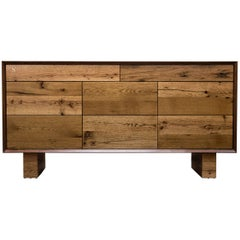 Sentient New Old Dresser Distressed Reclaimed Oak and Walnut Eight Drawers