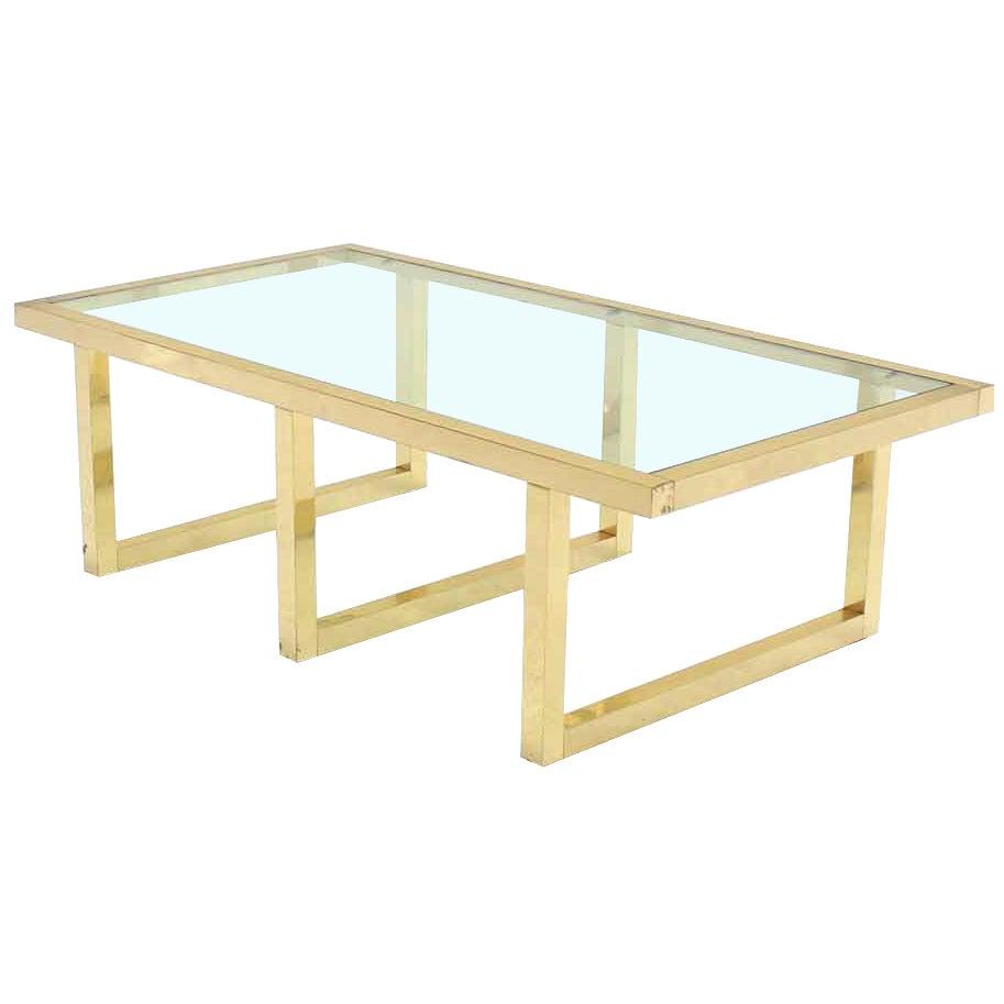 Rectangular Brass and Glass Mid-Century Modern Coffee Table