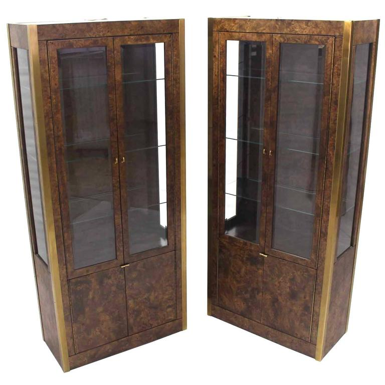Pair of Brass and Burl Wood Vitrine Display Cabinets