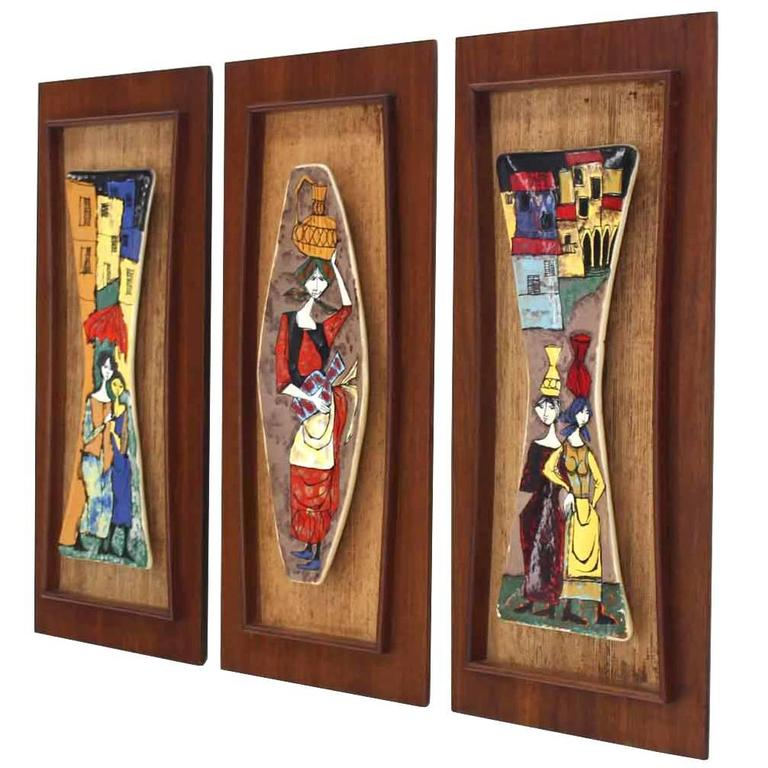 Set of Three Framed Art Tiles