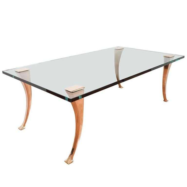 Brass Coffee Table with Sculptural Brass Legs For Sale