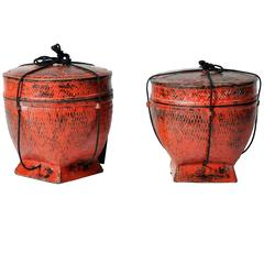 Burmese Red Lacquer Storage Basket with Lid