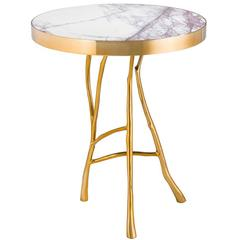 Branches Marble Side Table in Gold Finish or Bronze Finish