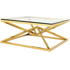 Equis Coffee Table in Gold Finish and Clear Glass