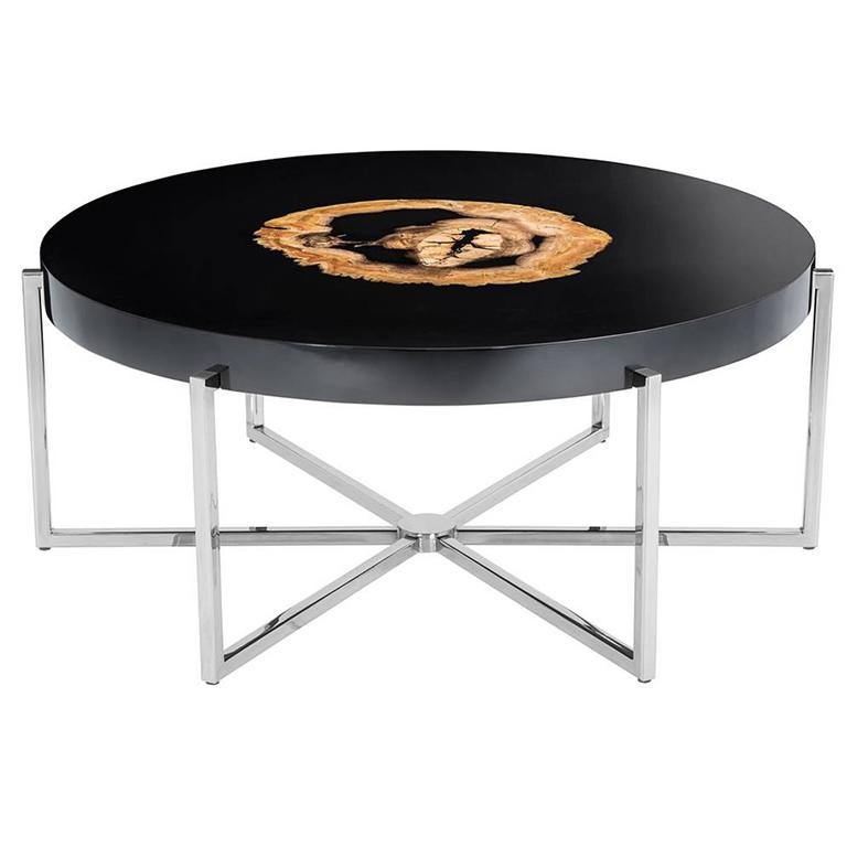 Petrified Wood Round Coffee Table Black Gloss And Nickel Base For Sale At 1stdibs