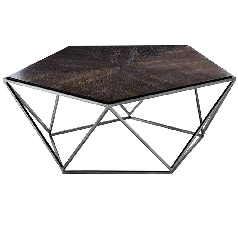 pentagon coffee table with charcoal oak top and black nickel