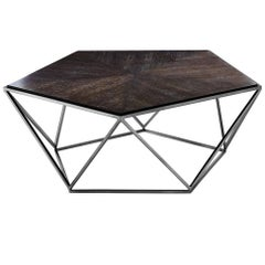 Penta Coffee Table with Charcoal Oak Top and Black Nickel Finish