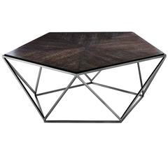 Pentagon Coffee Table with Charcoal Oak Top and Black Nickel Finish