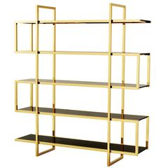 Gold Bookshelves in Gold Finish and Smoke Glass