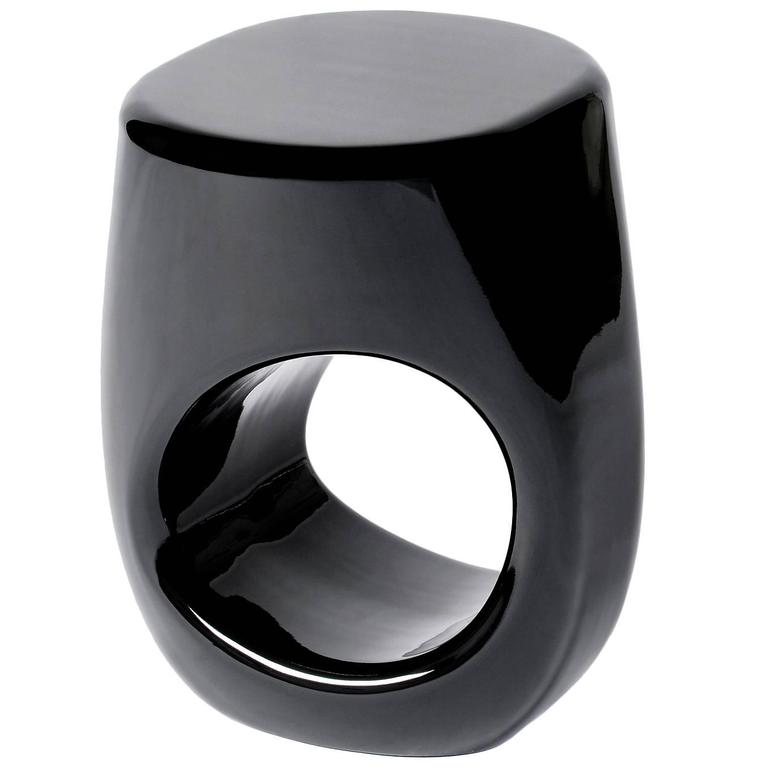 Black Lacquered Stool in Fiberglass and Black Paint