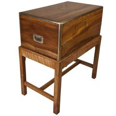 Rare Camphor Wood British Campaign Officer's Lap Desk on Stand