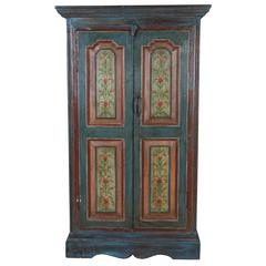 Lovely Early 1900s Hand-Painted Window Shutters Converted to Cabinet