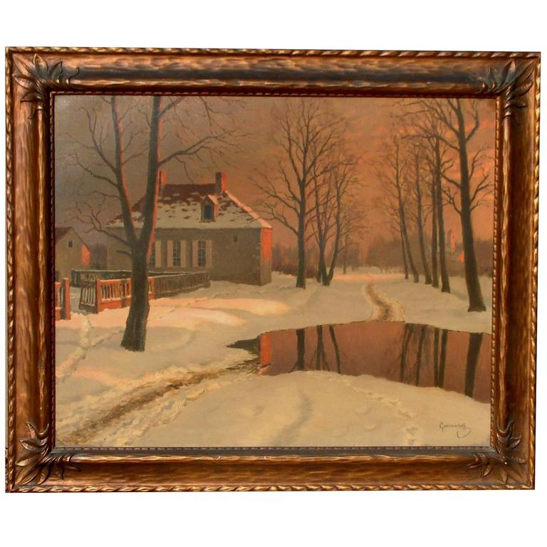 Russian Artist Mikhail Germachev Winter Snow Scene, Oil on Canvas For Sale
