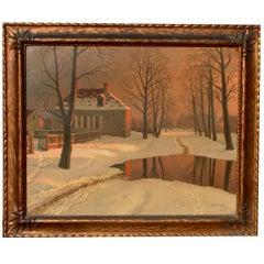 Russian Artist Mikhail Germachev Winter Snow Scene, Oil on Canvas