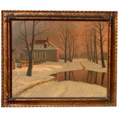Russian Artist Mikhail Germachev Winter Snow Scene, Oil on Canvas