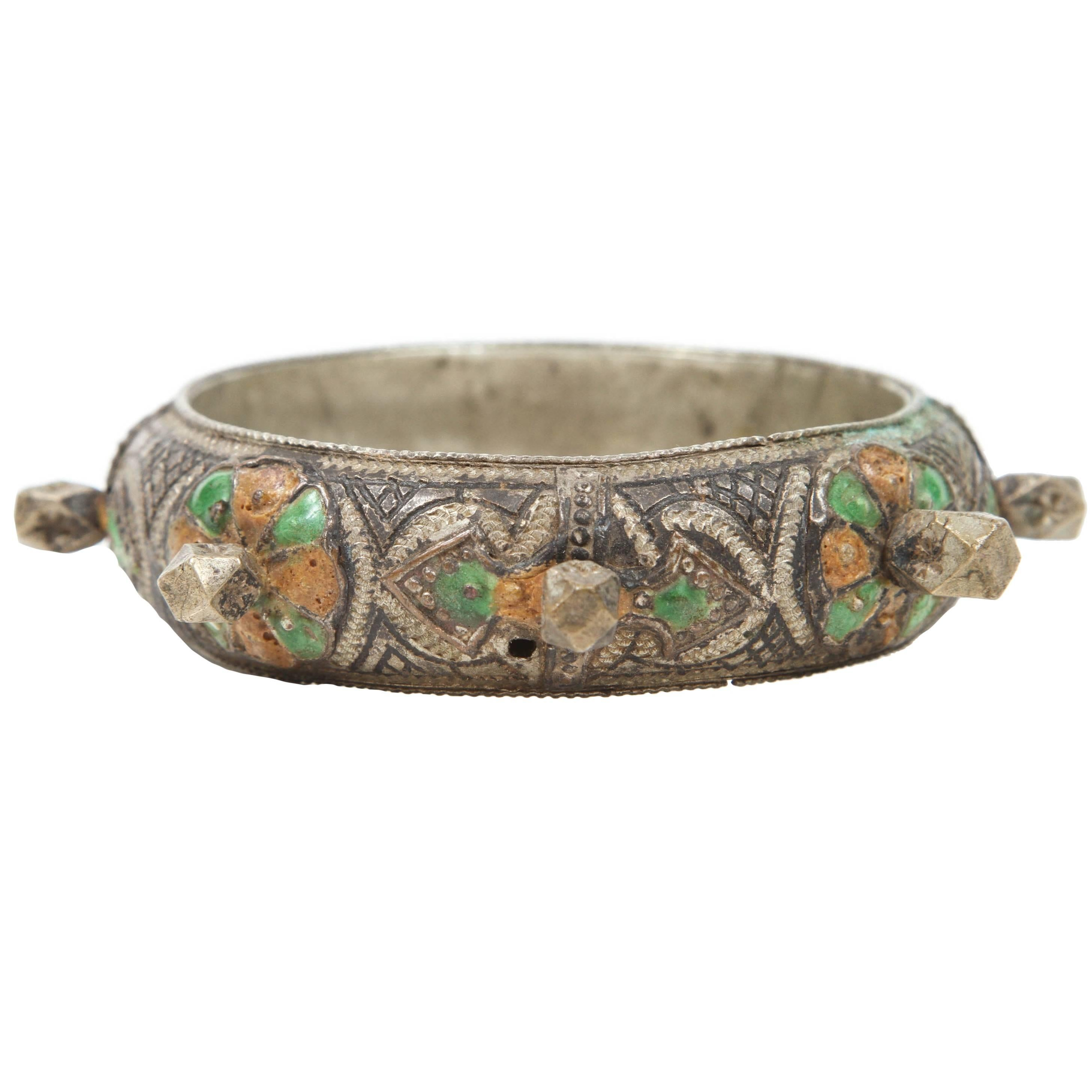 Moroccan Berber Silver Bracelet with Green and Orange Enamel