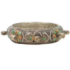 Moroccan Berber Silver Bracelet with Green and Orange Enamel