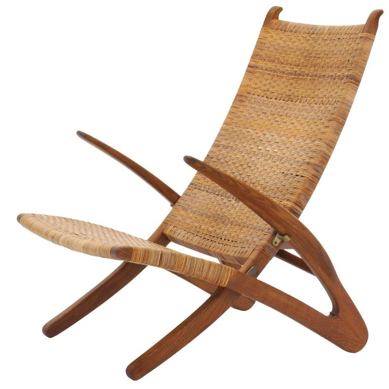 Rare Hans Wegner Dolphin Folding Lounge Chair Johannes Hansen Denmark 1950 For