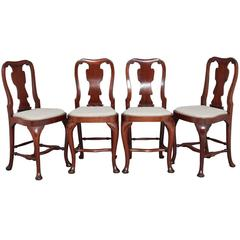 Set of Four 1920s Mahogany Queen Anne Design Bar Stools