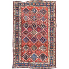 Antique Persian Qashqai Rug with Tulips, Diamond Patterns and Star Motifs