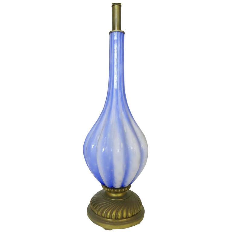 Handblown Murano Glass Table Lamp in Barovier Style