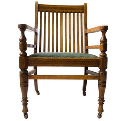 E W Godwin Attr,. Aesthetic Movement Oak Armchair With Serpentine Shaped Back