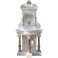White Carrara Marble and Onyx Wall Fountain, 19th Century