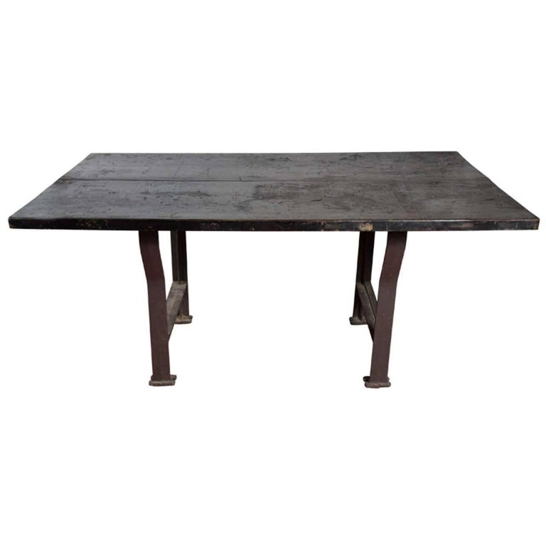 Large Industrial Work Plank Top Farm Table