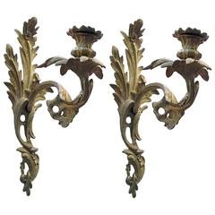 Pair of French Louis XV Gilt Bronze One Candle Arm Candelabra, circa 1880